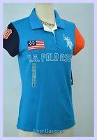 Uspa Polo Assn. Polo Shirt Top Pique Knit Blouse Patriotic Multi Color Sz L