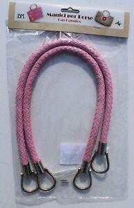 1-Paar-hochwertige-Taschengriffe-lederoptik-geflochten-rosa-55cm