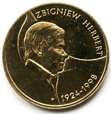 1924-1998 2008 Coin of Poland Polish 2zl Zbigniew Herbert