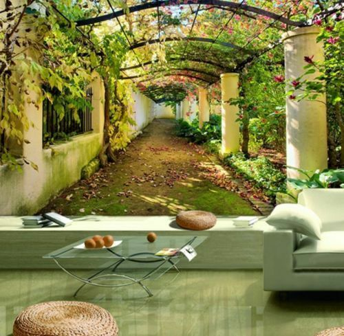Garden Pergola 3D Mediterranean Arbor Full Wall Mural Photo Wallpaper Home Kids