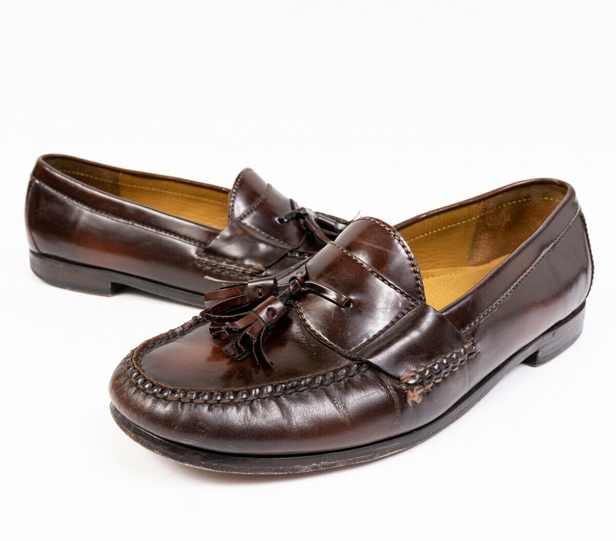 Cole Haan Mens Tassel Loafers Brown Leather 03508 Size 10.5 D