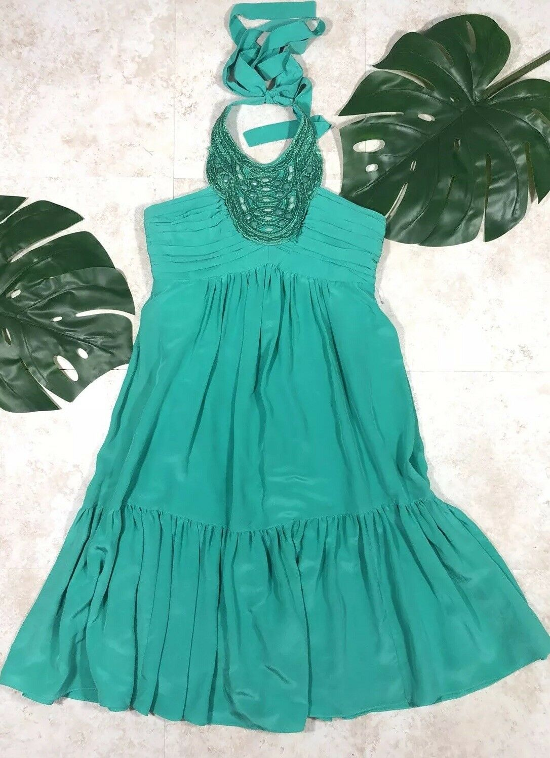 Shoshanna damen 100% silk beaded embellished corset halter dress Sz 4