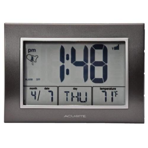Acurite 13131 Atomic Alarm Clock With Date Day Of Week And ...