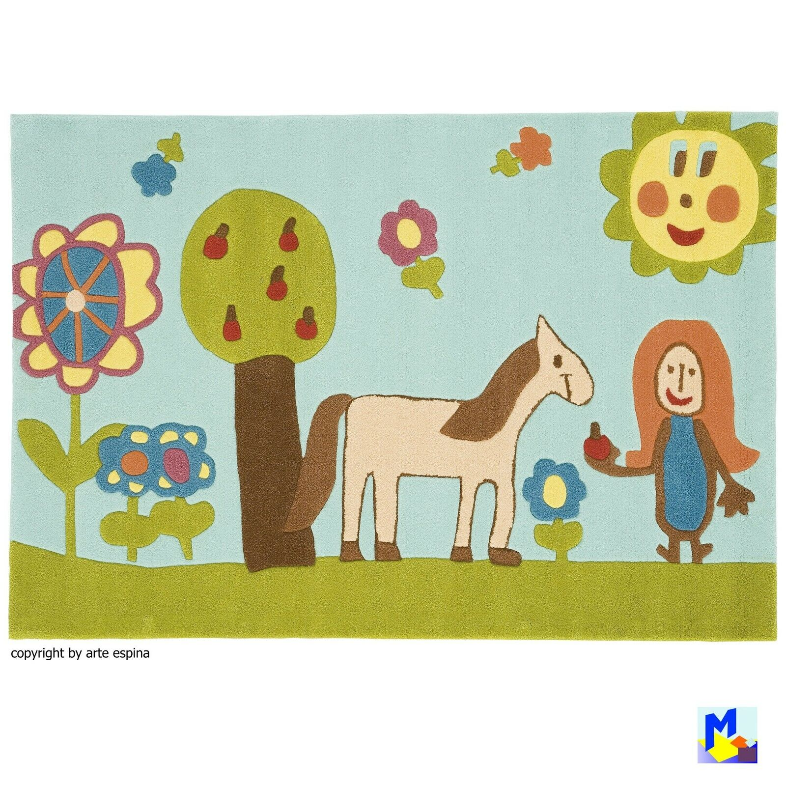 Soldes  Arte Espina tapis HANDTUFT 4038-52 filles, cheval et fleurs 110x160 CM