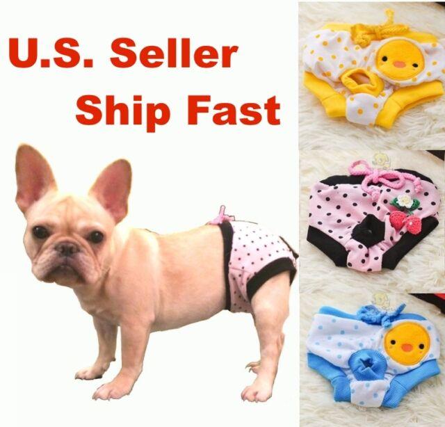 "Dog Diapers Female Sanitary Pants Cute Panty Underwear S, M, L Waist 9"" - 18"""
