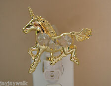 "SWAROVSK CRYSTAL ELEMENTSI ""UNICORN"" LIGHT-SENSORED NIGHT LIGHT 24KT GOLD PLATED"