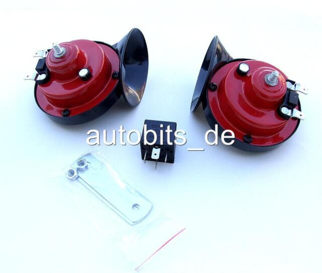 UNITEC Auto Signalhorn ROT Dual Ton Fanfare Hupe 12V 110dB Mini Cooper One Coope