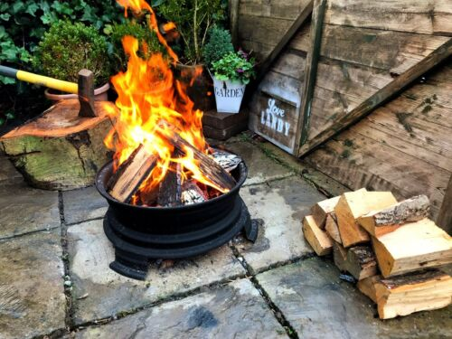 Upcycled Retro Single Wheel Log Burner Fire Pit Camping Outdoor