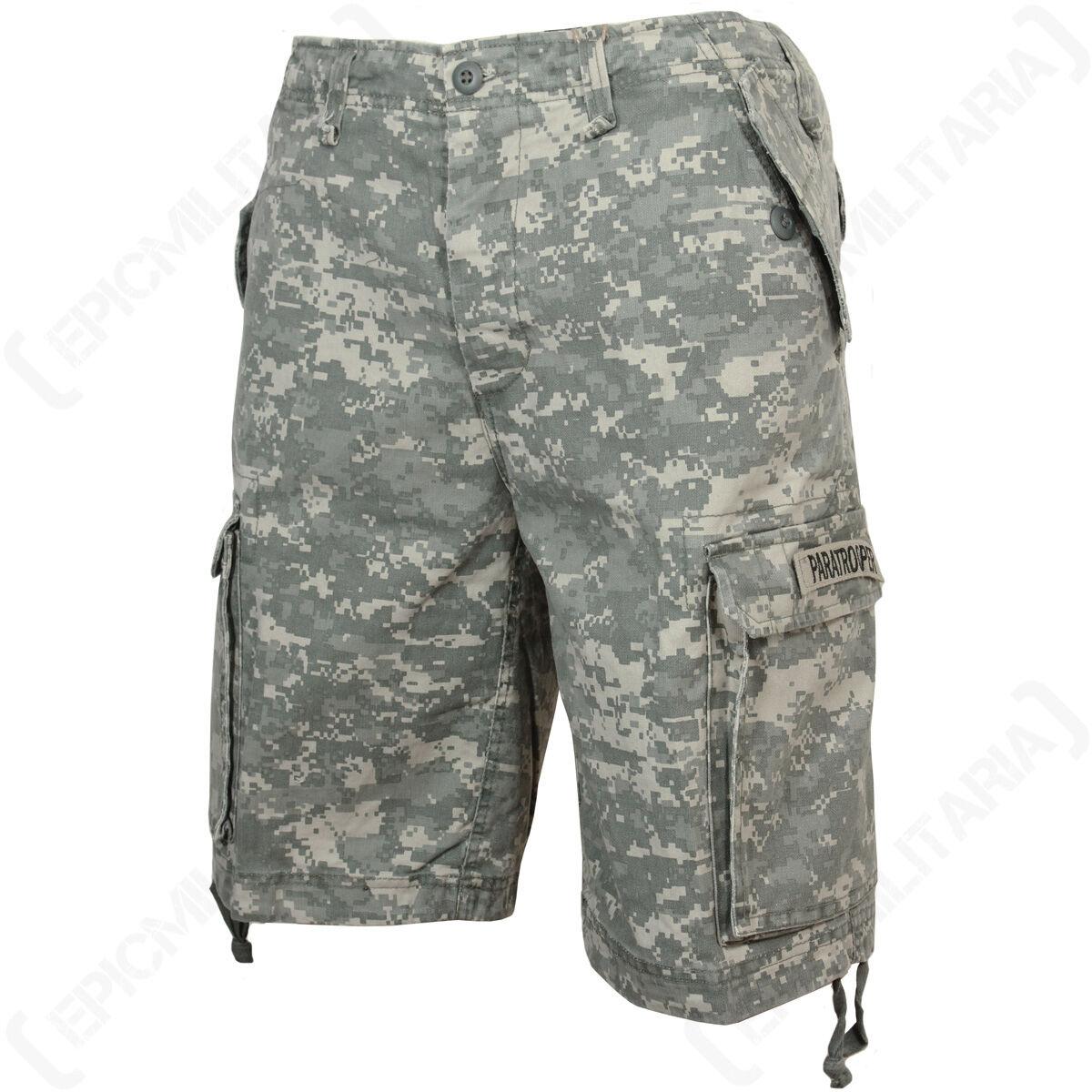 AT-DIGITAL Camo Paratrooper Shorts - Military Army Combat Mens Prewashed Cotton