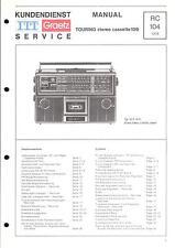 ITT Service Manual für Touring stereo cassette 109