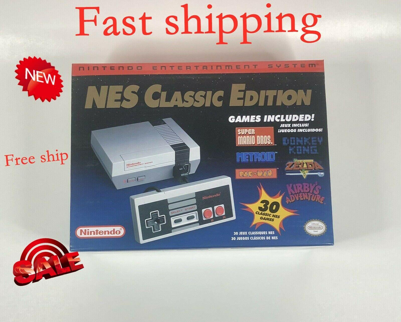 new Mini Nintendo NES Classic Edition Game Console w/30 Games + 2 Controller HD