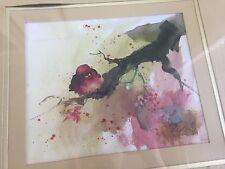 Art Print Watercolor Y S Lim Little Bird on Branch Thumbprint Framed Glass 1970s