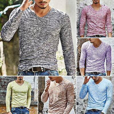 2017 Fashion Men's Slim Fit Long Sleeve T-shirts Casual Tee Shirt Tops Pullover