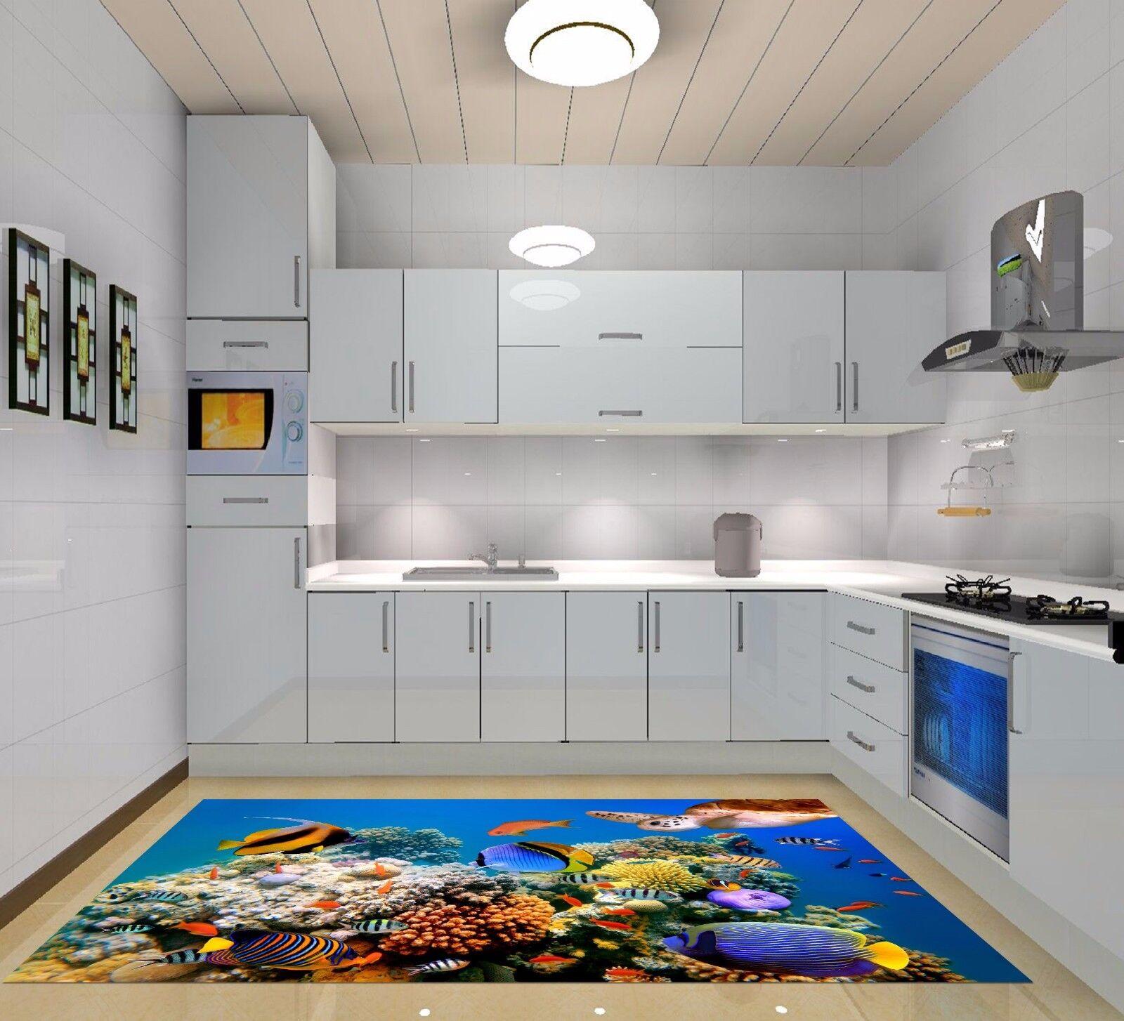 3D Turtle Coral 7 Kitchen Mat Floor Murals Wall Print Wall AJ WALLPAPER AU Carly