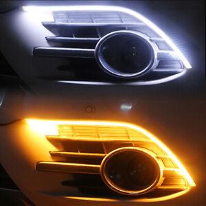 Dual-Farbe-LED-Scheinwerfer-Sequentiell-DRL-Licht-Streifen-Tube-Weiss-Gelb