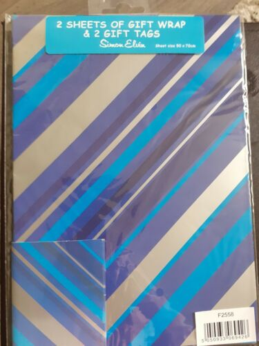 Male Gift Wrap And Tags 2 Of Each Simon Elvin Blue Black Gold Stripe