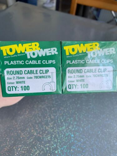 1000 X TOWER WHITE PLASTIC CABLE CLIPS 2.75mm 70CWRC275 10 Boxes of 100