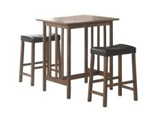 4356f4c612c0c 3 Pc Nut Brown Counter Height Bar Table and Stool Dinette Set by Coaster  130004