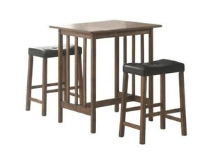 Astounding Details About 3 Pc Nut Brown Counter Height Bar Table And Stool Dinette Set By Coaster 130004 Gmtry Best Dining Table And Chair Ideas Images Gmtryco