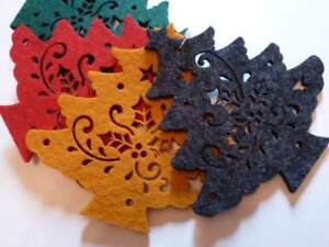 Christmas-Holiday-Set-Of-4-Coasters-Felt-Christmas-Tree-Cut-Outs-NEW