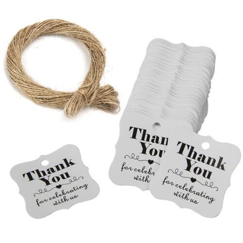 100pcs Thank You Power Geschenk Etiketten Wandbehang mit Jute Schlingen Packung