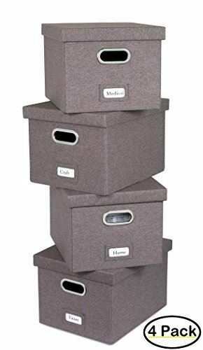 4-Pack Internet/'s Best Collapsible File Storage Organizer Box with Lid Grey