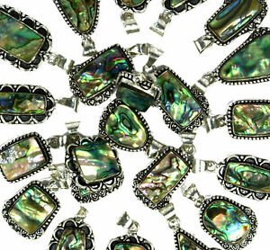 Natural-Abalone-Shell-Gemstone-925-Sterling-silver-overlay-pendant-wholesale-lot