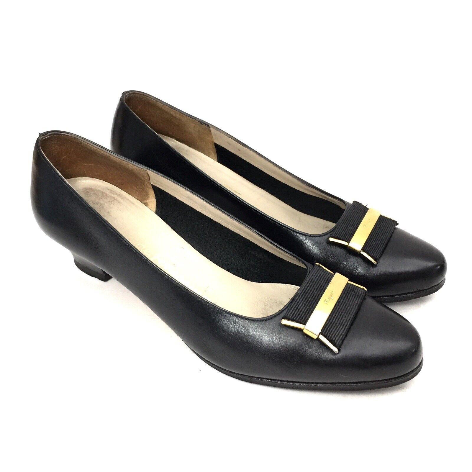 Women's Ferragamo Black Leather Pumps w  Ribbon & & & gold Logo Size 6.5 B 58b9f3