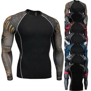 Homme-Compression-Shirt-Quick-Dry-Athletic-Sports-Running-Manche-longue-T-Shirt