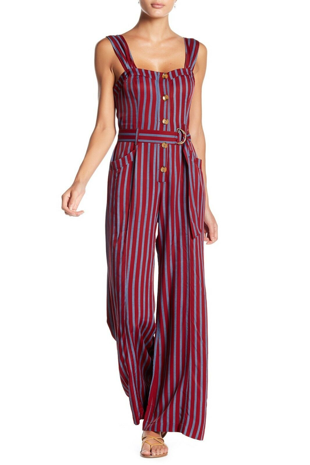 FREE PEOPLE Wine Red bluee Pin-Stripe CITY GIRL Satin Twill Wide Leg Jumpsuit 2