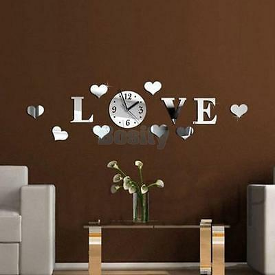 LOVE Clock Acrylic Plastic Mirror Wall Home Decal Decor Vinyl Art Stickers