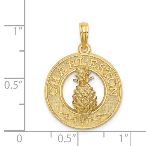 Details about  /Lex /& Lu 14k Yellow Gold Charleston On Round Frame w//Pineapple Charm