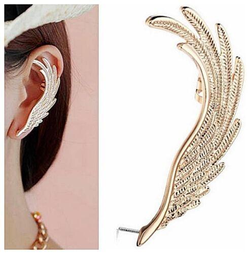 bijoux fantaisie plume Boucle d/'oreille manchette métal doré oreille Gauche