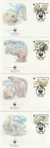 1987-RUSSIA-WWF-POLAR-BEARS-SET-OF-ALL-FOUR-FIRST-DAY-COVERS-SHS