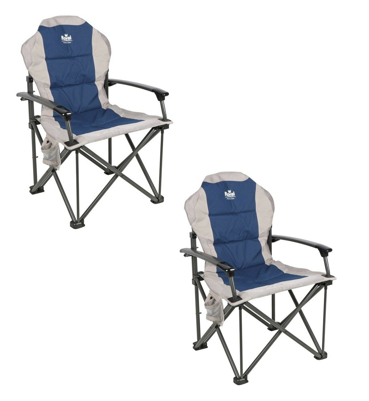 X2 (PAIR) Royal Commander Padded Armchair Chair bluee