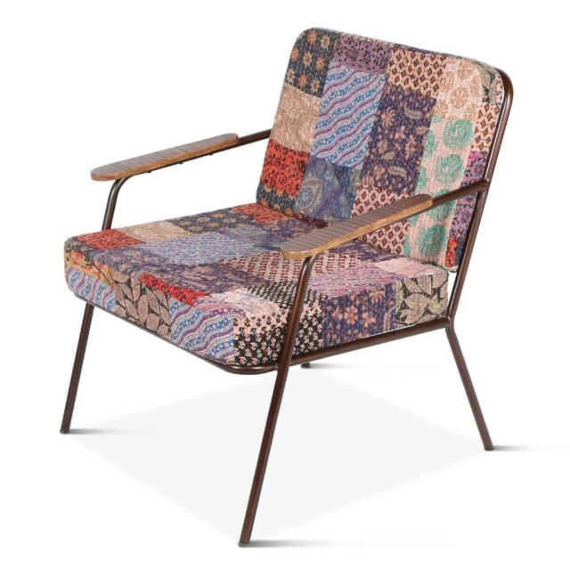 "24"" W Patchwork Armchair Multi Colored Vintage Fabric ..."