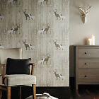 Arthouse VIP Cream Stag Wood Panel Calligraphy Wallpaper 623001