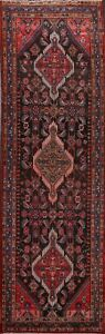 4'x10' Vintage Tribal Traditional Geometric Hand-knotted Runner Rug Wool Carpet