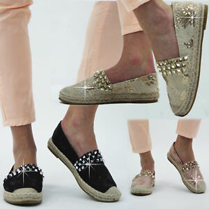 Womens-Ladies-Studded-Slip-On-Espadrilles-Shoes-Plimsoles-Summer-Sandals-Size3-8