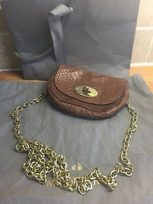 MULBERRY Small Mini Lily Size Bayswater Belt Bag Oak Silky Snake Chain Strap 9e21a451cefc9