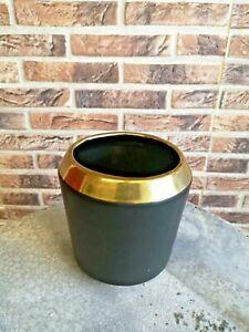 Edler Übertopf 12cm Schwarz Gold Keramik Blumentopf Deko Blumen