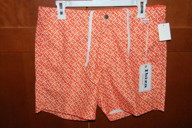 IBIZA Swim Trunks Orange White Size 30 Men Button Draw Strings OCEAN CLUB NWT