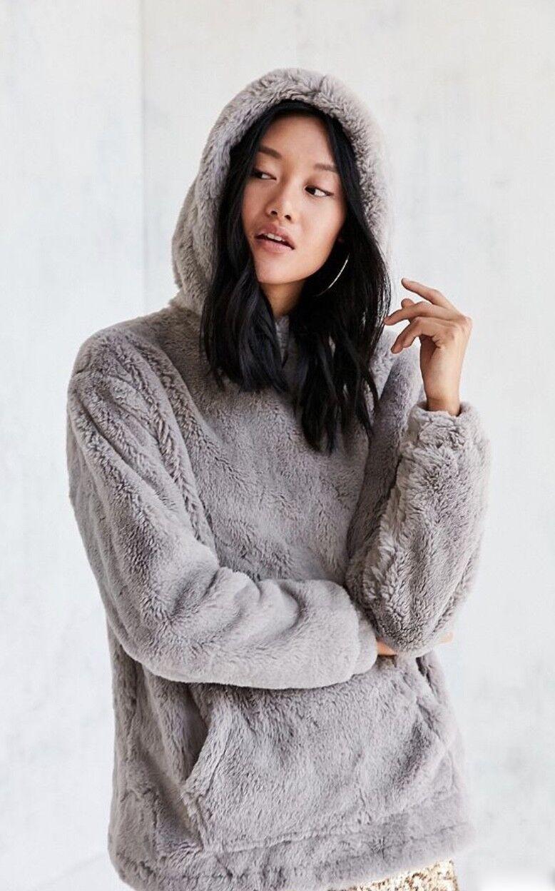 NWT Urban Outfitters Silence Noise grau Faux Fur Hood Popover Sweatshirt Coat S