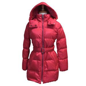 Coach-F83993-Women-039-s-Center-Zip-Puffer-Jacket-Long-Down-Coat-Hood-Pink-Scarlet