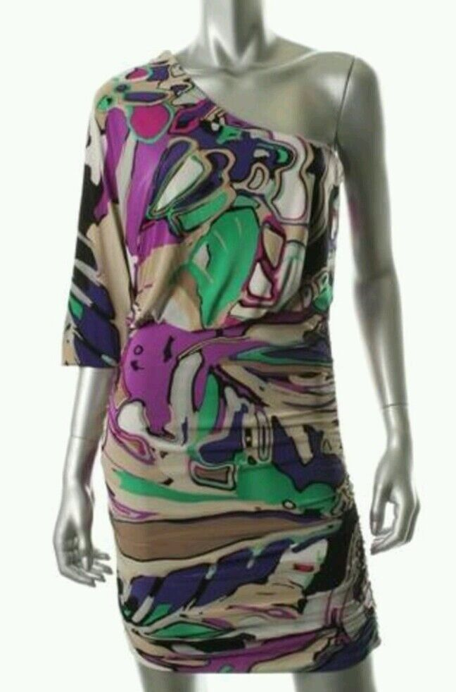 NEW  NINE WEST MULTI MATTE JERSEY ONE SHOULDER RUCHED SIDES DRESS 2P,14P