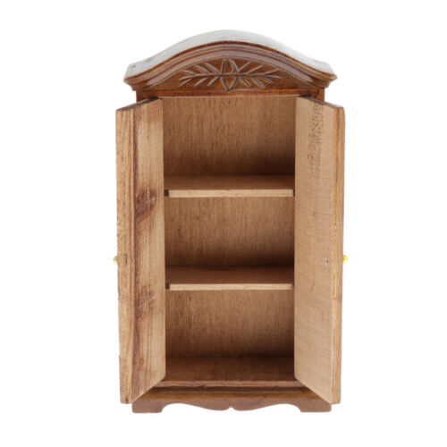 1//12 Miniature Dollhouse 3-layer Display Wardrobe Closet Playhouse Accs Wood