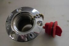 """Marine Boat Diesel CHROME Fuel Gas Deck Fill With Key less Red Cap,  2"""""""