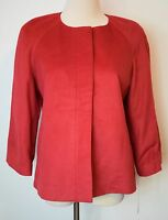 Harve Benard Small Blazer Red 3/4 Sleeve Hidden Zipper Soft Jacket Lined