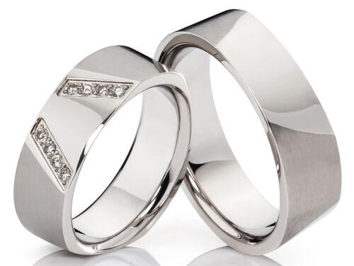 2 anillos de alianzas alianzas grabado /& con 8 circonita