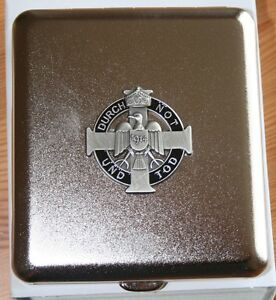 Zigaretten Etui  DURCH NOT UND TOD  1914  Emblem  Metall  NEU